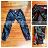 Genuine Men's Black Leather Sweatpants