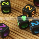 Custom mix colors numbers alphabet charm beads wholesale black numbers alphabet charms beads for jewelry accessories