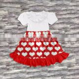 Hot sale short sleeve printed cotton pearl white and red children girl dress Kids valentine's Dress