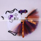 Baby Girls My 1st Pumpkin Halloween Skull Printed 3PCS Romper with Tutu Skirt Headband