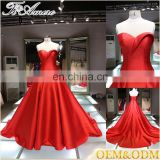 Dress manufacture China custom made bridal wedding floor length red evening dress wholesale