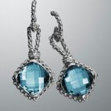 Sterling Silver Jewelry 11mm Blue Topaz Cushionon Point Earrings(E-085)