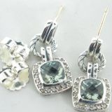 Sterling Silver Jewelry Prasiolite Renaissance Earrings(E-033)