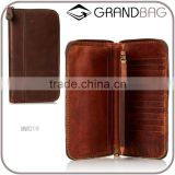 vintage cowhide leather clutch wallet travel organizer wallet for men