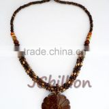 Coconut Shell Necklace Real Natural Carved into Beads