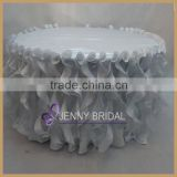 TC055D best price silver wedding tbale skirting ,curly willow table skirt