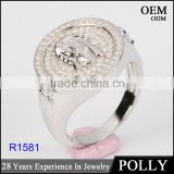 wholesale 925 silver hip hop jewerly jesus peice ring made in china