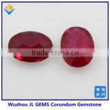 high quality synthetic gems machine cut oval ruby corundum gemstone