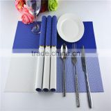 Newest PVC blue grid Placemat fashion pvc dining tab0le mat disc pads bowl plates coasters waterproof table cloth pad