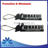 Promotion custom design rubber keychain with metal small beads ring