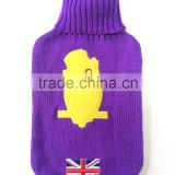 2015 new design embroidery UK flag knitted hot water bag cover