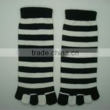 Boxi-High quality a short section of the double color with black and white five fingers socks