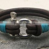 Characteristic Leather Bracelet with Stainless Steel Clasp Custom Unisex Bangle Best Friendship Gifts