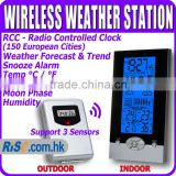 Digital Barometer Humidity Temperature Centigrade Fahrenheit Backlight Wireless Weather Station