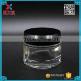 2016 clear cosmetic glass jar or ice cream container with black ABS cap                                                                                                         Supplier's Choice