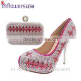 Wholesale rhinestone handmade shoe and bag set for party use