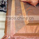 Embroidered Brocade Silk King Size Bed Sheet Bedding Set
