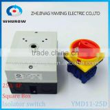 Isolator switch YMD11-25D 4P 690V with protective box waterproof load break rotary changeover switch air-conditoning pump system                                                                                                         Supplier's Choice