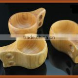 High-end Handmade Rubber Wooden Coffee Cup with Double Holes ,Wood tea mug with handgrip