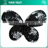 Black Sequin Wings Black Bead Butterfly Applique Patches