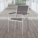 elegant aluminum brushed dining wood arm chair, stacking outdoor plastic chair