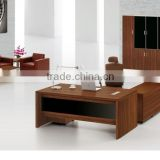 Hot sale office building interior design dark brown color desk and chair with bookshelves (FOH-P1821-B)