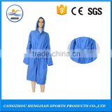 Blue funky lapel/hooded mature fluffy comfortable bathrobe