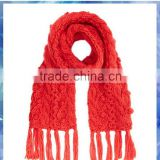 Chunky bobbles knitted red scarves for winter,winter scarf for women,Acrylic Women Winter Scarf