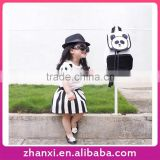 Pretty panda cotton short-sleeved shirt black and white two-piece striped suits