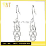 Jingli Jewelry factory silver color celtic knot drop earrings,big beautiful love knot drop earrings (HE-027)