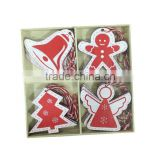 Wooden christams hanging ornaments for decor on xmas tree wooden hanger angel ,tree,bell