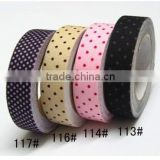 Wholesale YIWU FACTORY cotton Polka Dots Fabric Washi Tape 15mm x 5m shabby chic pretty colorful kawaii cotton Polka Dots FABRIC