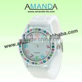 White Silicone Stone Watch Ladies,Fashion Watch,Popular Watch Good Qualiy And Good Service