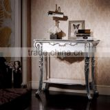Classical Louis XVI Style Hall Way Console Table, Double Layer Silver and White Sofa Side Table