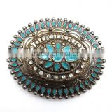 Antique Looking Fashion hot sale embellished buckle for belts, Zinc alloy material buckle with Paint injection and Rhinestones