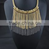Baroque style metal chain tassel ethnic necklace jewelry for women