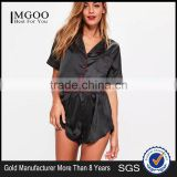 Black Satin Pyjamas Set Button Fastening Fit Crop Shirt With Piping Back Floral Applique And Elasticated Shorts