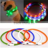 Newest USB Rechargeable Led Dog Pet Flashing Collar Light Up Chargeable Night Safety Necklace Free Size Si Colors Convinient
