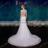 Stunning Lace Appliqued Two Straps Sheer Open Back Chapel Train Lace Mermaid Wedding Dresses 2015