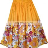 European women ethnic printing cotton skirts wholesale lady cotton long skirt india cotton skirt