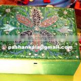 Green Colored Zari Embroidery Box