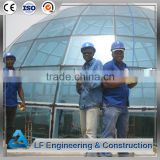 Steel structural dome buildings with long span glass roof