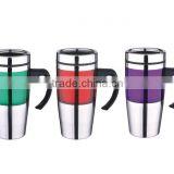 AS and SS double wall 16oz travel tumblers car mugs with handle