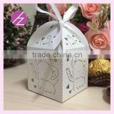 Elephant shape laser cut wedding favour square candy box for wedding and party favor gift baby shower gift TH-211