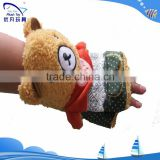 2015 winter warm new plush bear pattern fingerless fleece glove