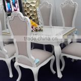 gorgeous wood modern 2016 dining table, flower pattern in amber mother of pearl, border in silverleaf gold, background white mat