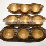 wooden peas plate fashion creative wooden lattice points candied candy dessert dish dried fruit nuts bowl