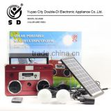 Multi-functional solar portable rechargeable camping lighting system power bank solar kit with 3W solar panel
