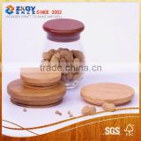 new design glass jar with wood lid, wood lid for candle jar                                                                         Quality Choice