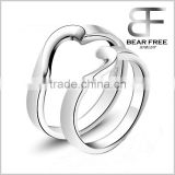 2 Pieces of Heart 925 Sterling Silver Anniversary/Engagement Couples Rings Plated with Platinum